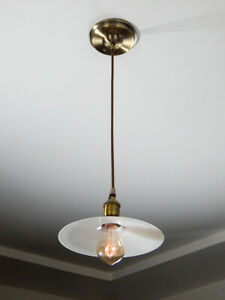 Cafe Style Pendant Light Antique Glass Shade New Cloth Cord Fixture