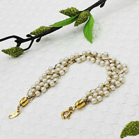 Vintage Signed Trifari Faux Pearl Braided Cluster Bracelet Designer Gold Tone
