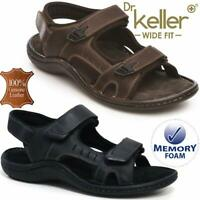 Mens Leather Summer Sandals Walking Hiking Trekking Memory Foam Wide Fit Shoes