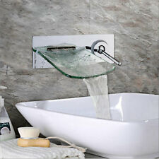 Chrome Bath Basin Wall Mount Waterfall Faucet Single Handle Mixer Glass Taps