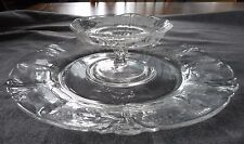 "VINTAGE HEISEY GLASS QUEEN ANN ORCHID ETCH CHEESE COMPOTE & 12"" CRACKER TRAY SET"