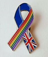 Union Jack Rainbow Ribbon Pin Badge brooch thank you NHS key workers gift