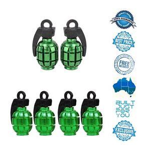 GREEN 4 x Grenade Car Truck Bike Tyre Tire Valve Stem Caps Covers Accessories