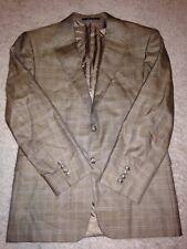 Hickey Freeman Silk Wool Limited Tan Plaid 2 Button Jacket 40 short