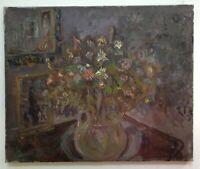 Tableau Ancien Impressionniste goût VUILLARD par René HAMIOT Bouquet au Miroir