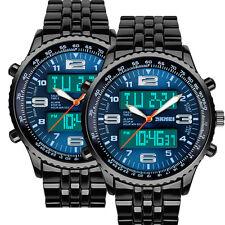 2x LED Herren Uhr Armbanduhr Edelstahl Quarzuhr Blau Wasserdicht Sportuhr Neu