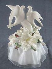 White Glazed Porcelain Doves Wedding Cake Topper with Gardenia Flowers & Skirt