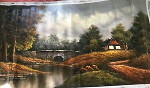 Long House in the forest oil painting