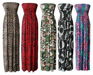 Womens strapless Printed Maxi Dress ladies Sheering Gathered Boobtube Bandeau