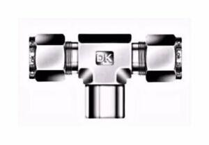 """3/8"""" Tube OD x 1/4"""" FNPT Female Branch Tee Fitting 316ss DK-LOK   DTBFZ 6-4N-S"""