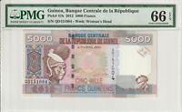Guinea PMG Certified Banknote UNC 66 EPQ Gem 2012 5000 Francs Pick 41b