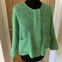 MASAI CLOTHING CO Green Woven Boxy Jacket Size Medium Pockets Lagenlook