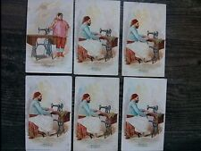 """#ORIGINAL 1800's VICTORIAN Lot (6) Trade Card 3 x 5"""" SINGER Sewing Co. TUNIS"""