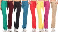 New Solid Plus Size Terry Cloth Tie Waist Sweat Pants Drawstring PT123X