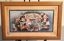 "Homco Home Interiors Picture 22"" x 14"" Barbara Mock Bears God Bless Our Home Vgc"