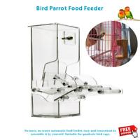 Acrylic Pet Bird Cage Automatic Feeder Food Container Feeding Parrot Cockatiel
