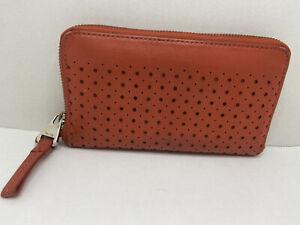 Perlina Leather Burnt Orange Zip Around Wallet