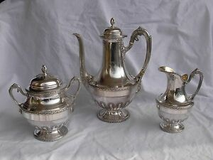 ANTIQUE STERLING SILVER COFFEE SET,3 PIECES,LOUIS 16 STYLE,LATE 19th CENTURY.