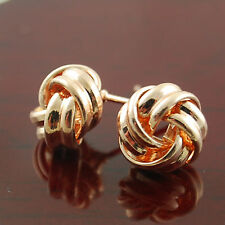 Elegant 18K 18CT Rose Gold Plated Knot Twist Round Stud Earrings - New -110
