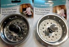 Set of 2 Stainless Steel Kitchen Sink Drain Strainer Basket & Stopper