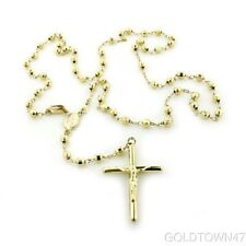 """14K Yellow Gold 2.5mm Beads Our Lady Guadalupe Rosary Necklace 18"""""""