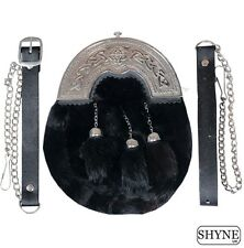 BLACK RABBIT FUR FULL DRESS SPORRAN WITH CHROME FINISH CANTLE 3 BLACK TASSELS