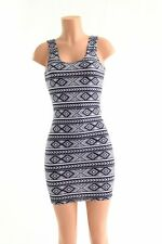 MEDIUM Black & White Aztec Tank Style Bodycon Clubwear Rave Dress