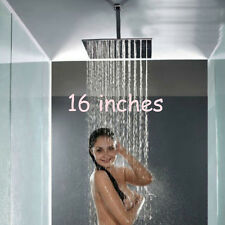 "Ceiling Mount 16"" Large Square Rain Shower Head Top Sprayer Shower Arm Chrome"