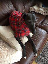 """Snood jumper fleece dog house coat whippet lurcher greyhound red tartan 28"""""""