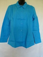Chadwick's Women's Button Up Shirt Long Sleeve Cotton Blend Blue Size 16