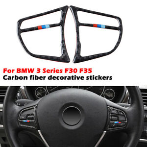 Carbon Fiber Steering Wheel Button Frame Cover Trim for BMW F30 F34 3 series