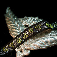 """Silky gold roses and silver metallic leaves trim antique vtg lace tape 1"""" wide"""
