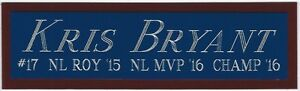 KRIS BRYANT CHICAGO CUBS NAMEPLATE FOR YOUR AUTOGRAPHED SIGNED BASEBALL JERSEY