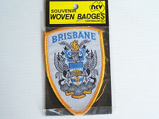 VINTAGE BRISBANE COAT OF ARMS EMBROIDERED SOUVENIR PATCH WOVEN CLOTH SEW BADGE