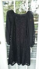 NWT Adrianna Papell  Womens Black Lace Cocktail Dress Sheer Sleeves Sz 6 $160