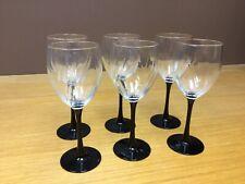 "6 Luminarc Black Stem 7 3/4"" Wine Glasses w/Clear optic Swirl Bowl - Excellent"