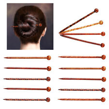 6x Unfinished Wood Chinese Women Hairpins Wooden Hair Sticks Chopsticks 13cm