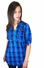 BLACK FRIDAY OFFER ONLY £4 womens shirt top check top cotton uk size 12