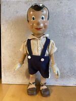 Rare Antique Pinocchio Walt Disney Wood Composition Doll Crown Toy 1940's