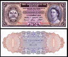 BELIZE 2 DOLLARS (P34a) 1974 QEII UNC