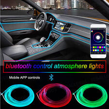 RGB LED Car Interior Neon EL Strip Light Sound Active Bluetooth Phone Control