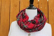 Plaid Flannel Infinity Scarf Men or Women Red Stewart Plaid Thick 2 Layers