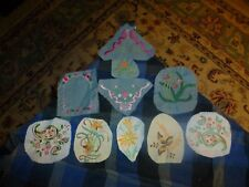 Vintage Homemade Paisley & Flowers Embroidery Remnant Patch Lot Of 10 Unique