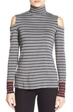 Bailey 44 Women's Tate Striped Cold Shoulder Turtleneck Top Size Medium