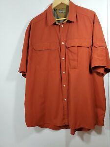 REI XL  Men Shirt Vented Rust/ Maroon Short Sleeve Fishing Hiking UPF50 Button