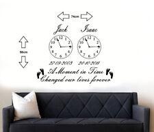 Personalised Kids Birth Date Vinyl Wall Art 2 Clocks sticker Living room