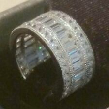 3 Ct Emerald Princess cut Diamond Eternity Wide Band Wedding Ring White Gold ov