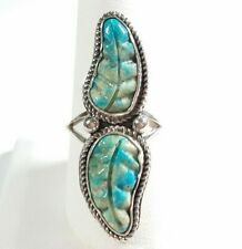 NAVAJO ROBIN WOOD STERLING SILVER DOUBLE CARVED FEATHER TURQUOISE SIZE 9.25 RING