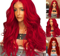 Full Head Red Synthetic Fiber Hair Cosplay GlueLess Lace Front Wig Long Wavy