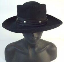VTG - Western Style Hat Black 100% Wool Felt - WPL 4384 w/ Stud Band Cowboy
